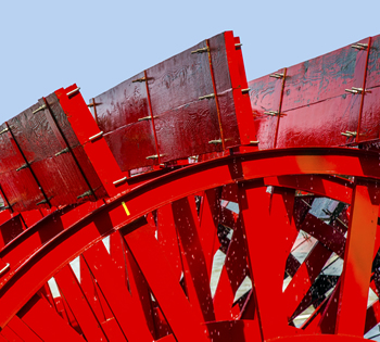 Red Riverboat Wheel
