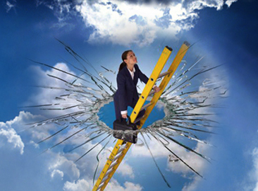 Breaking the glass ceiling (original image from http://dillingermediaonline.com/breaking-the-glass-ceiling/)